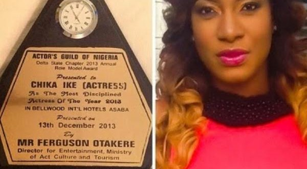 Chika Ike leaves Nigerians Wondering As She Wins Award Of Most Disciplined Actress Of The Year 2013