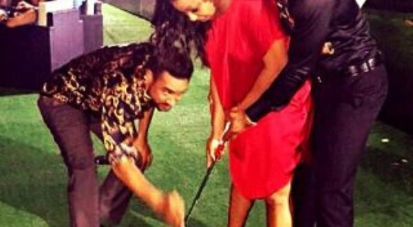 Actor Alex Ekubo Taking Rita Dominic Through Golf Lessons