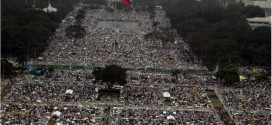 An aerial view of Rizal Park shows the millions attending Mass