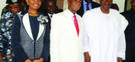 Faith Oyedepo wife of the General Overseer of Winners Chapel- Bishop David Oyedepo and President Goodluck Jonathan after the President's visit to the church on Sunday