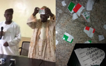 Obasanjo denounces PDP, tears membership card in public