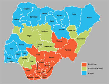 Jonathan vs Buhari: How They stand In Nigeria's 36 States And The Federal Capital Territory