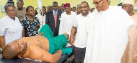 President Buhari Commiserates with victims of the Nyanya and Kuje bomb blasts at the National Hospital Abuja alongside Chief of Staff Abba Kyari, Governor Ibikunle Amosun of Ogun state amongst others
