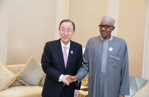 Buhari tells Ban ki-Moon 'We've driven Boko Haram into fall back positions'