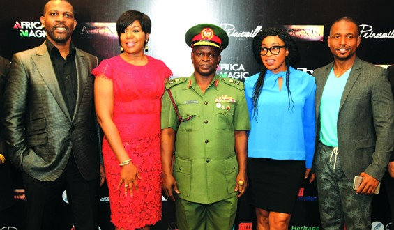 L-R: Prince Tonye Princewill, Executive Producer; Wangi Mba-Uzoukwu, Major General Rogers Ibe Nicholas, Chief of Civil-Military Affairs, Army HQ.; Rita Dominic, Nollywood Actress with Adonijah Owiriwa, Executive Producer.
