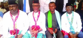 •L-R: National Vice Chairman, All Progressives Congress, South-South, Mr. Hilliard Etta; National Chairman, APC, Chief John Odigie-Oyegun; Minister of Niger Delta Affairs, Mr. Usani Usani; and former senate leader, Mr. Victor Ndoma-Egba, during a reception for new members of the party in Calabar