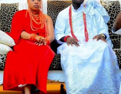 Photo News: The Ooni of Ife with his new wife at their traditional wedding
