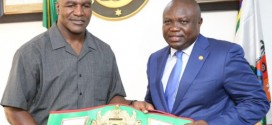 Holyfield in Lagos for fight with Tinubu