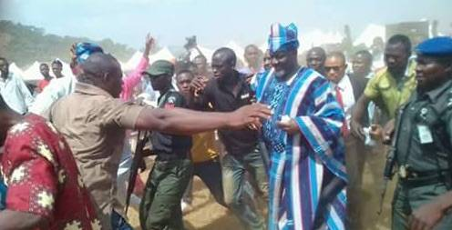 Senator Dino Melaye pelted with stones in Kogi