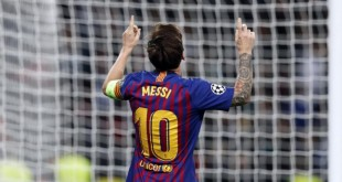 Lionel Messi celebrating his goal against Tottenham